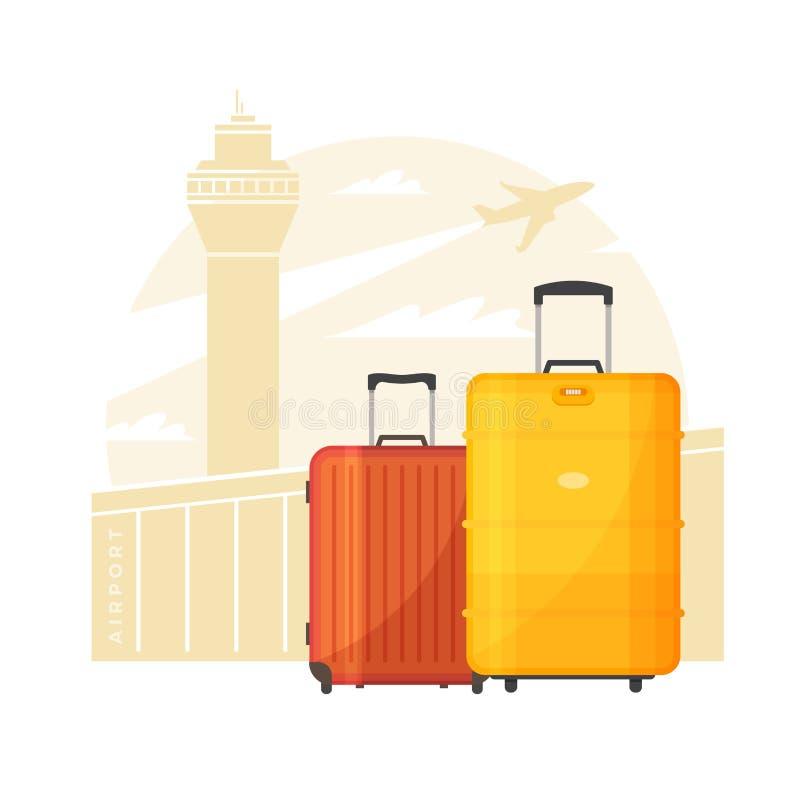 регулирует чемоданы Багаж на предпосылке авиапорта и самолета Концепция перемещения иллюстрация вектора