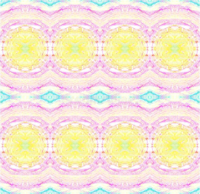 Регулярные круги и фиолетовое ромбовидного узора желтые розовое и светлый - голубой горизонтально иллюстрация штока