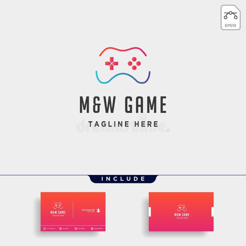 регулятор концепции шаблона дизайна логотипа игры MW письма бесплатная иллюстрация