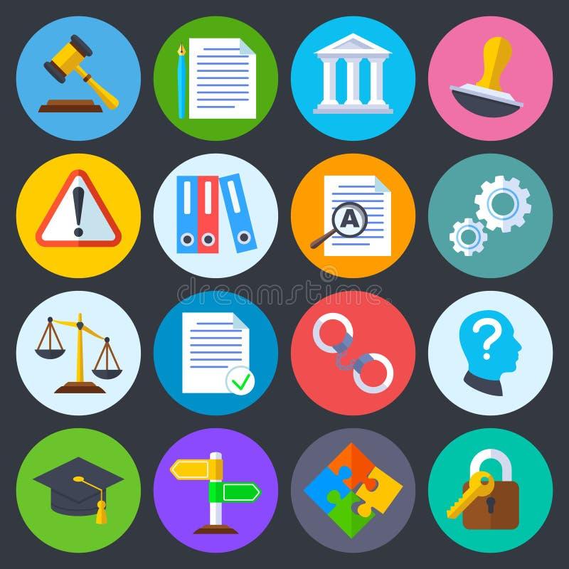 Регулировка дела, законное соответствие и авторское право vector плоские значки иллюстрация вектора