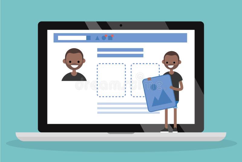 Редактируйте ваш профиль предмет дег иллюстрации евро коричневого цвета голубой коробки предпосылки схематический Молодое черное  иллюстрация вектора