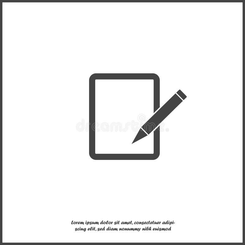 Редактируйте значок вектора на белой изолированной предпосылке Документируйте карандаш для редактирования r бесплатная иллюстрация