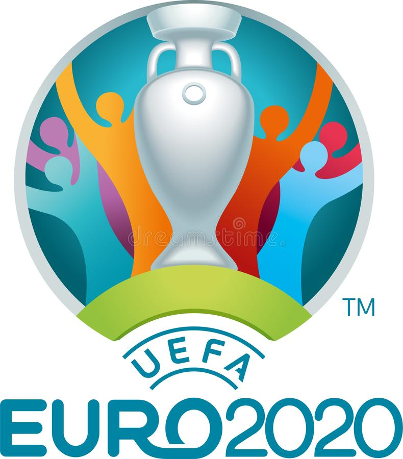 Редакционный - логотип 2020 евро UEFA иллюстрация штока