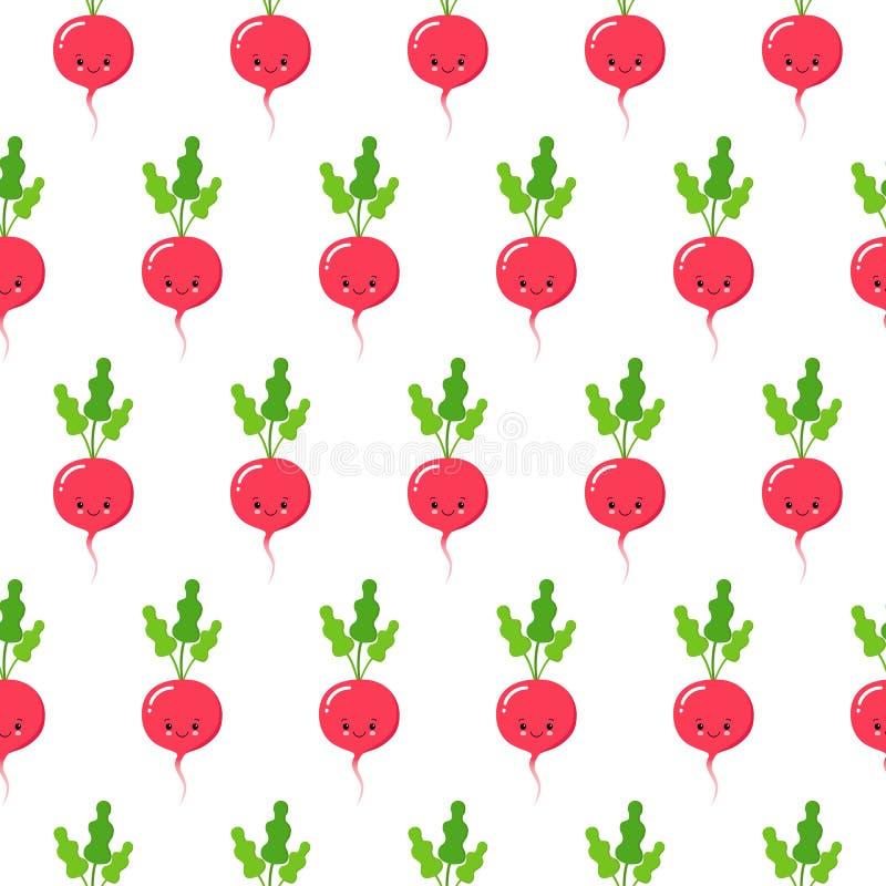 Редиска, картина вектора безшовная с милыми характерами овоща изолированными на белизне иллюстрация штока