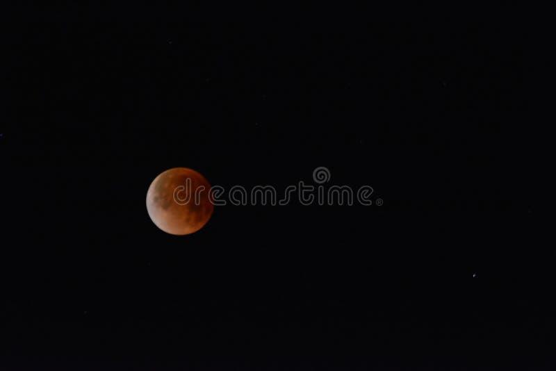 Редкое супер затмение луны голубой крови Калифорния 2018 стоковое изображение rf