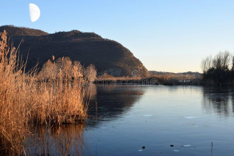 Редкое явление замороженных трясин озера Iseo - Брешия - стоковое изображение rf