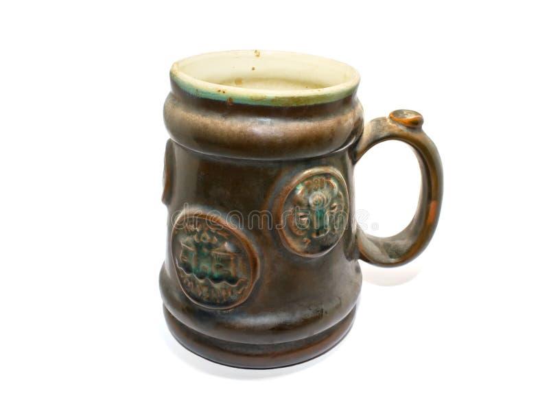 Редкость кружки старого коричневого цвета кружки пива большая стоковое фото rf