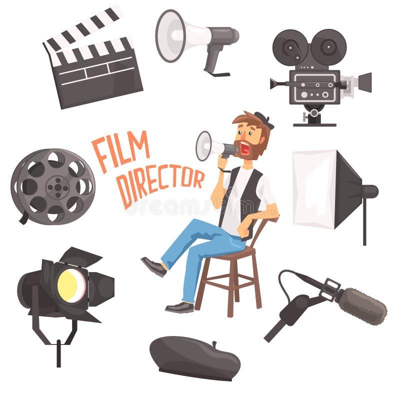 Режиссер фильма сидя при процесс стрельбы кино мегафона контролируя окруженный комплектом Moviemaking Ofbjects иллюстрация вектора