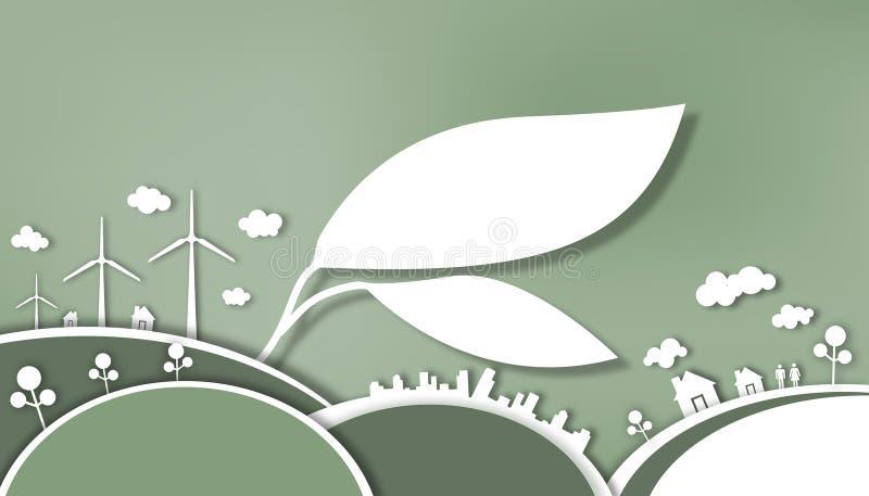 Режущ бумагу - засаживающ леса для того чтобы держать дерево устойчивый - любовь сбережения мировой энергетики иллюстрация штока