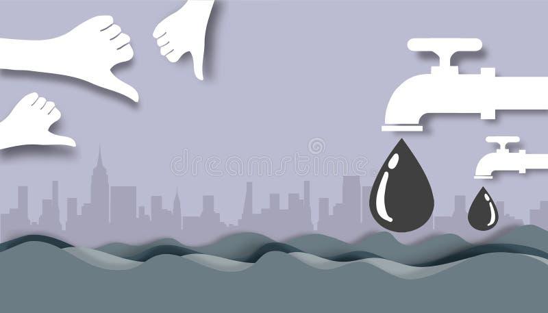 Режущ бумагу - отработанную воду Faucet воды бесплатная иллюстрация
