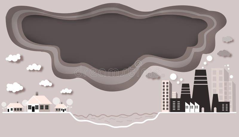 Режущ бумагу - промышленное загрязнение воздуха которое плотно сжимает общину иллюстрация вектора