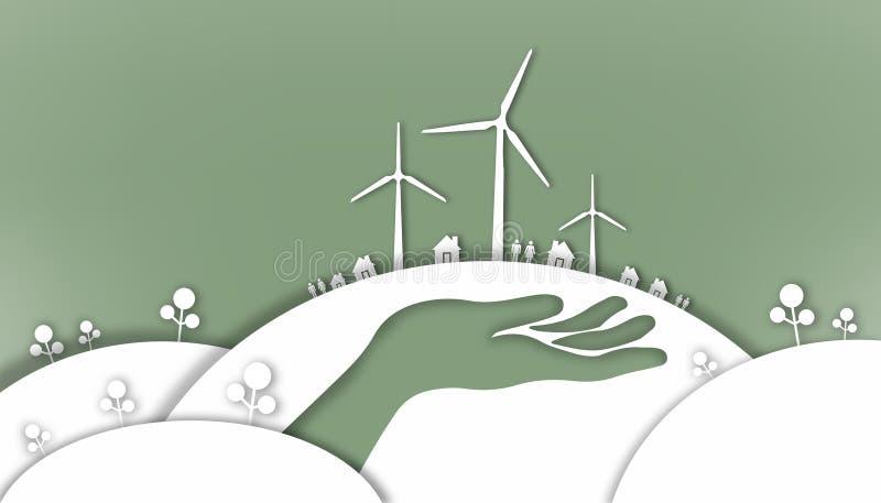 Режущ бумагу - руки который любят мир и окружающую среду - полюбите сбережения мировой энергетики бесплатная иллюстрация