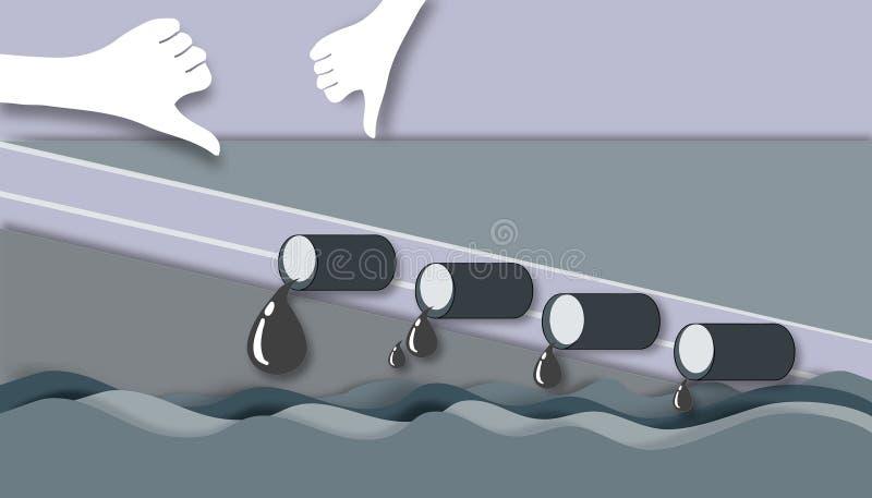 Режущ бумагу - фабрика выпускает отход воды вниз с моря иллюстрация вектора