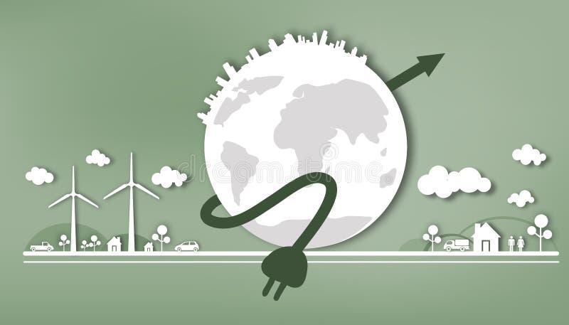Режущ бумагу - энергию - сбережения - полюбите мир иллюстрация вектора