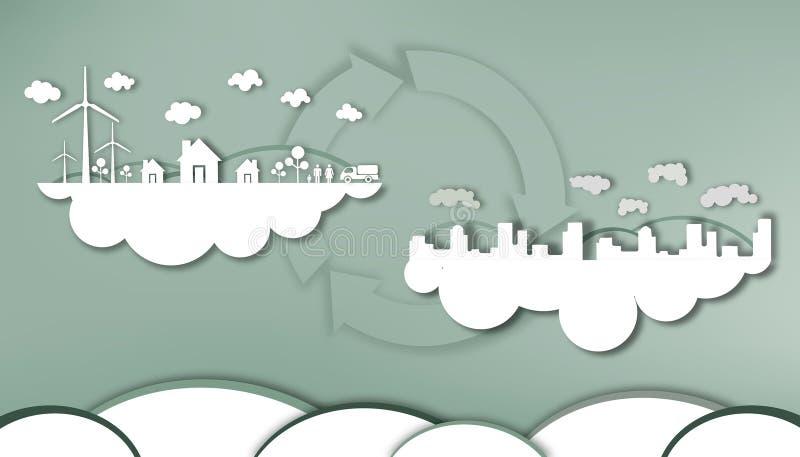 Режущ бумагу - энергосберегающую от столицы и древнего воздуха общины бесплатная иллюстрация