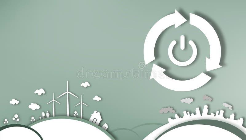 Режущ бумагу - энергосберегающую силу путем открытие и закрывать иллюстрация вектора