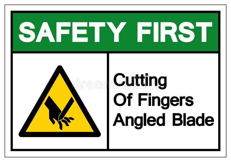 Резать безопасность прежде всего двинутого под углом пальцами знака символа лезвия, иллюстрации вектора, изолята на белом ярлыке  иллюстрация штока
