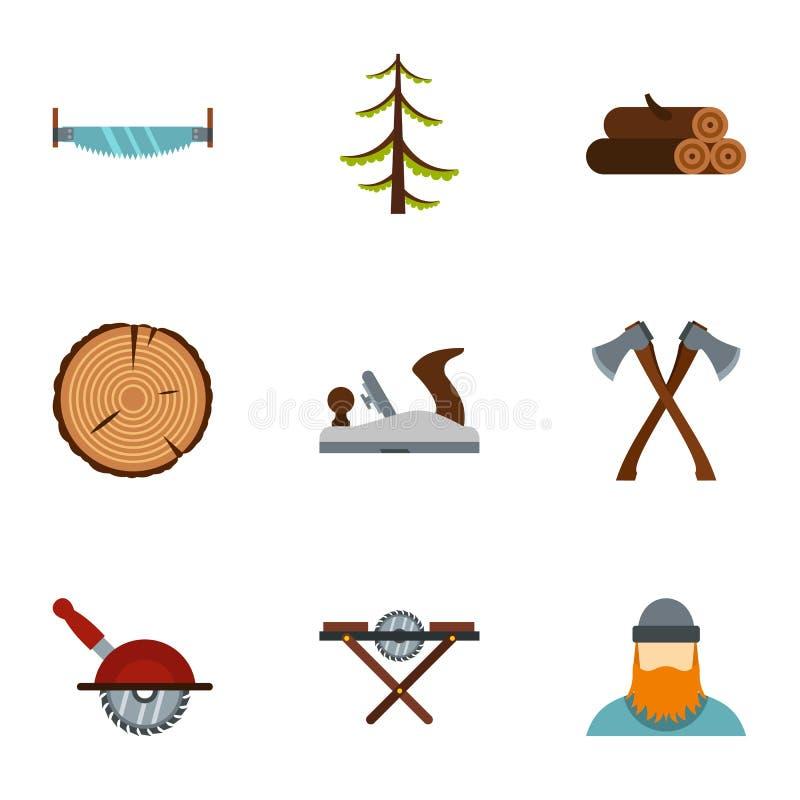 Резать вниз с значков деревьев установил, плоский стиль бесплатная иллюстрация