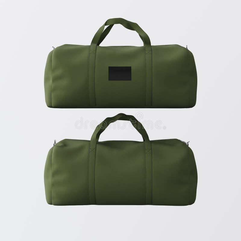 Резвитесь сумка моды зеленого цвета при ручки изолированные на белой предпосылке Сильно детальные материалы текстуры в квадратном иллюстрация вектора