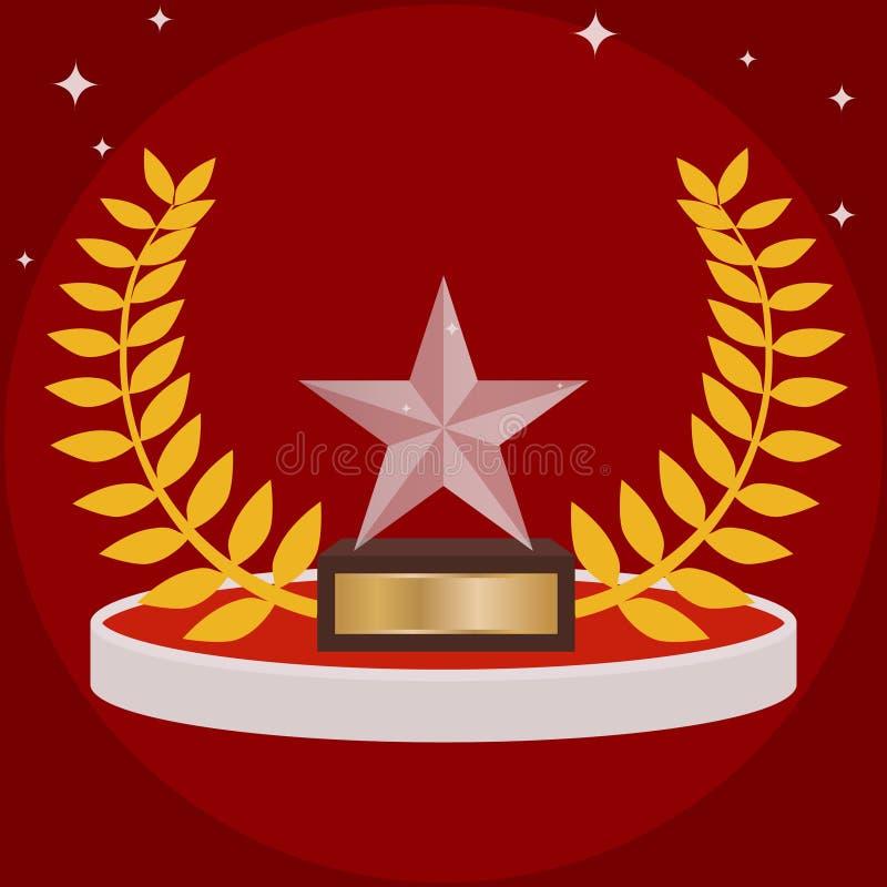 Резвит трофей в форме звезды на красном цвете Спорт придают форму чашки в форме стеклянной звезды иллюстрация штока
