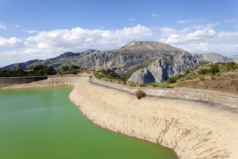 Резервуар воды El Chorro, Малаги, Испании стоковая фотография rf