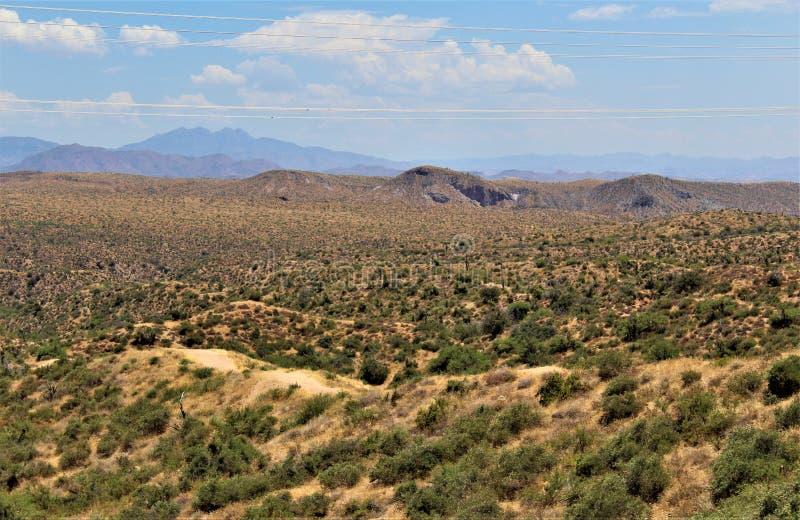 Резервуар озера Bartlett, Maricopa County, государство взгляд ландшафта Аризоны, Соединенных Штатов сценарный стоковые фото