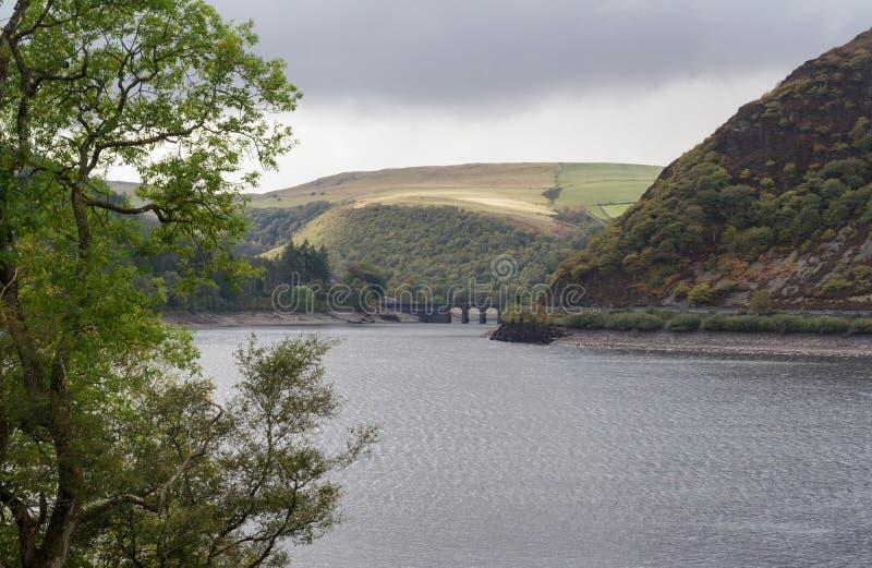 Резервуар ddu garreg, холмы воды и деревья стоковые изображения