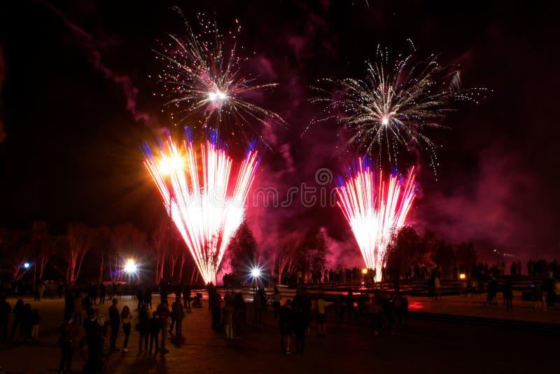 Резиденты города наблюдают красочные фейерверки ночи стоковые фотографии rf