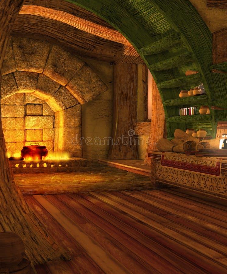 Резиденция волшебника Hovel фантазии внутренняя иллюстрация штока