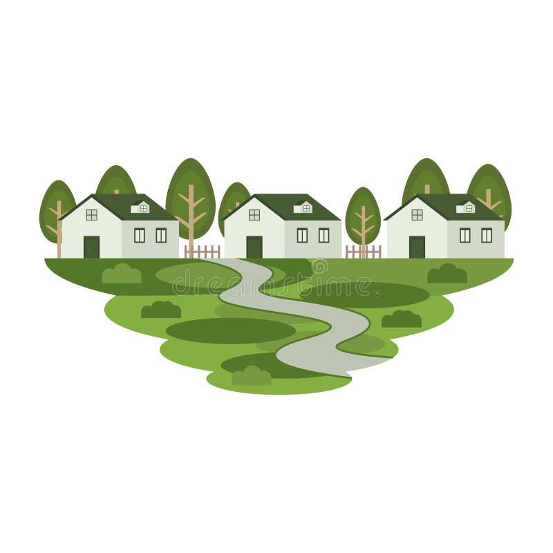Резиденция имущества дома домашняя в ландшафте городка иллюстрация вектора