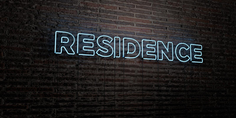 РЕЗИДЕНЦИЯ - реалистическая неоновая вывеска на предпосылке кирпичной стены - представленное 3D изображение неизрасходованного за бесплатная иллюстрация