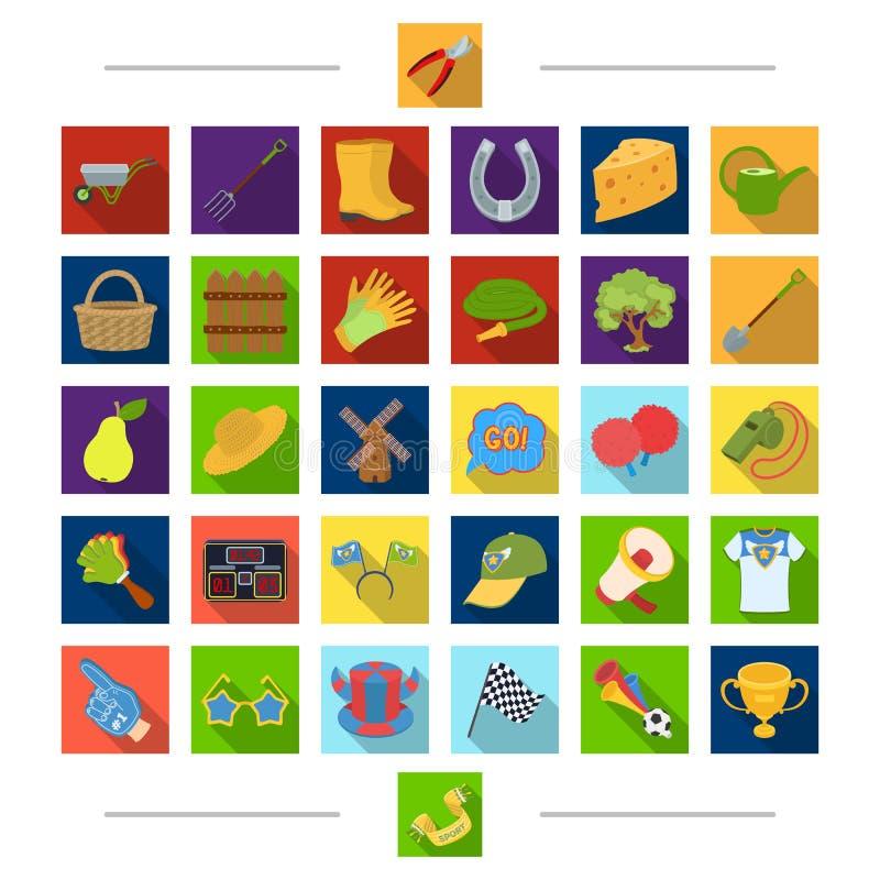 Резиденция, спорт, воссоздание и другой значок сети в стиле шаржа Плодоовощи, природа, значки лета в собрании комплекта иллюстрация штока