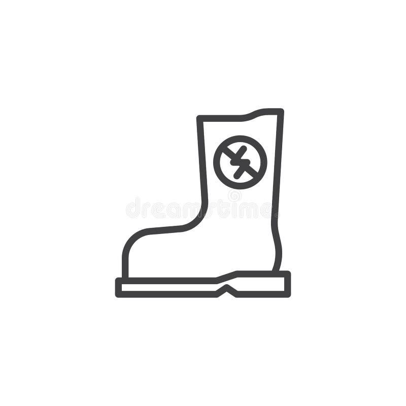 Резиновая противостатическая линия значок ботинка иллюстрация штока