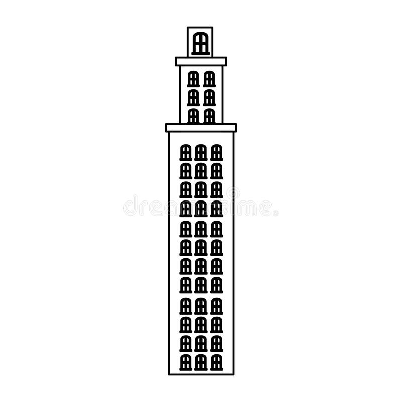 резиденция башни силуэта с несколькими полов иллюстрация штока
