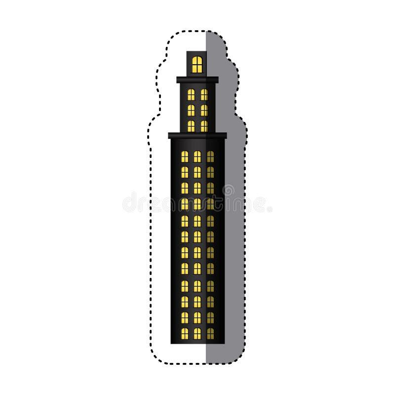 резиденция башни стикера с несколькими полов бесплатная иллюстрация