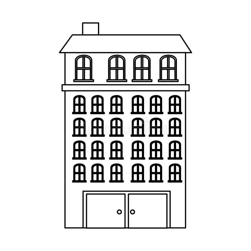 резиденция зданий силуэта с несколькими полов бесплатная иллюстрация