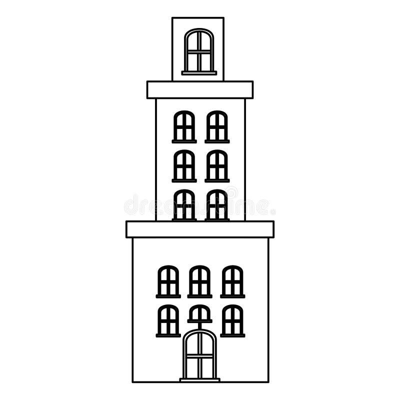 резиденция квартиры силуэта с несколькими полов иллюстрация вектора
