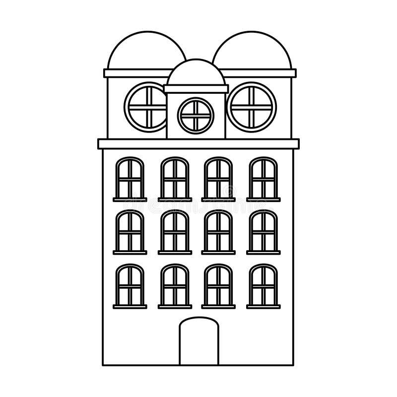 резиденция строения силуэта с несколькими полов бесплатная иллюстрация