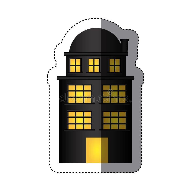 резиденция строения стикера с 3 полами и террасами иллюстрация штока