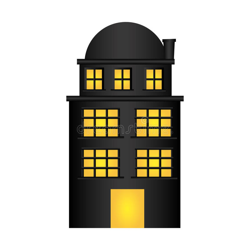резиденция строения с 3 полами и террасами иллюстрация вектора