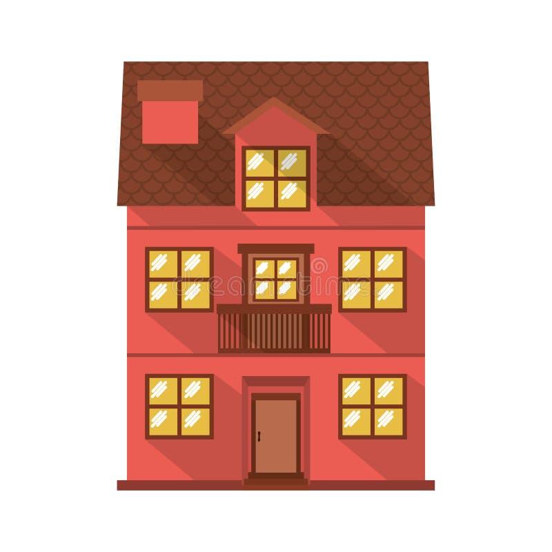 Резиденция фасада confortable с балконом бесплатная иллюстрация