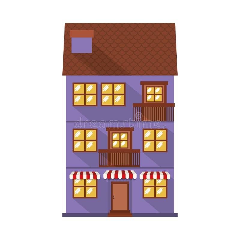 Резиденция фасада confortable с навесом иллюстрация вектора