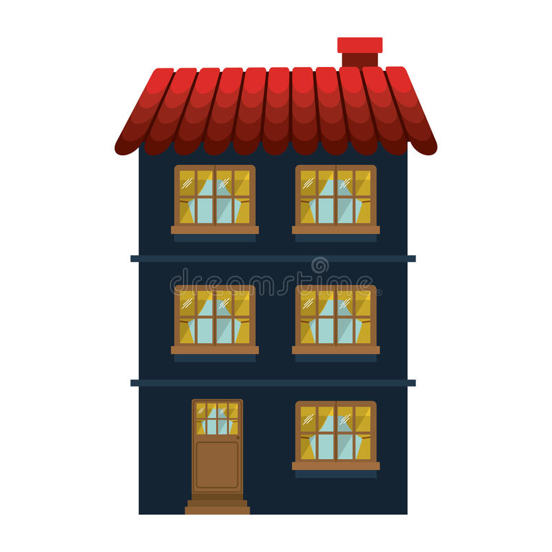 Резиденция фасада confortable с несколькими полов бесплатная иллюстрация