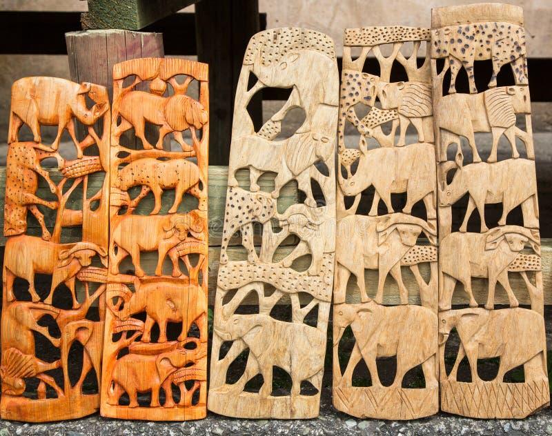 Резное изображение Большой Пятерки южно-африканское деревянное стоковые изображения