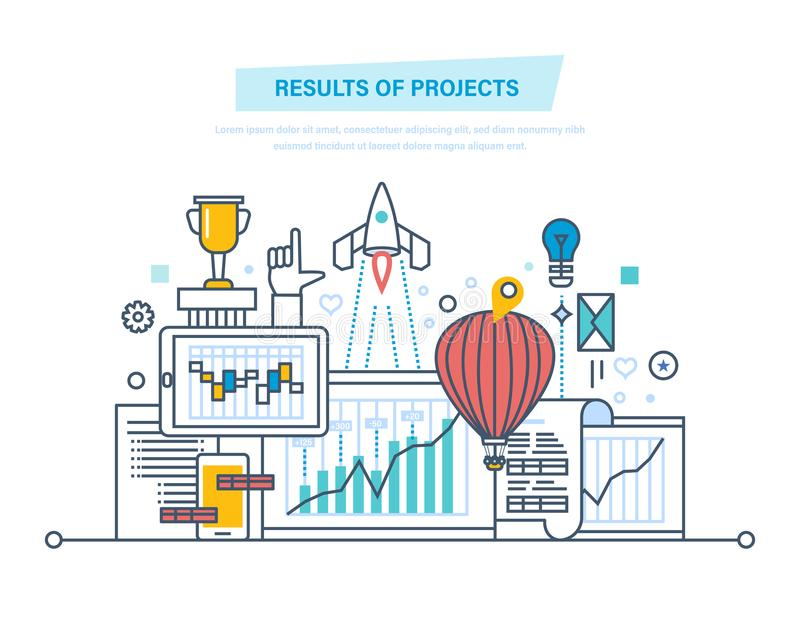 Результаты проектов Планирование, руководство проектом Анализ степени риска, стратегия, вставка иллюстрация штока