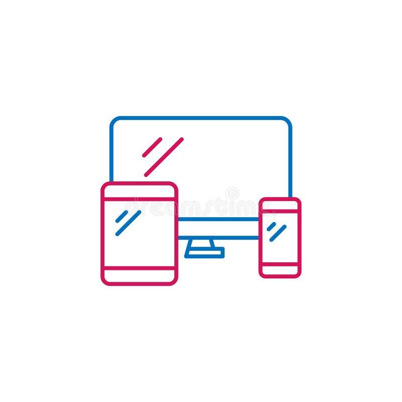 Резюме работы, отзывчивые 2 покрашенная линия значок Простой значок покрашенного элемента Резюме работы, отзывчивый значок дизайн иллюстрация вектора