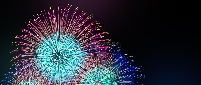 Резюмируйте покрашенную предпосылку фейерверка с космосом бесплатной копии для текста Красочная концепция торжества и годовщины д стоковые изображения