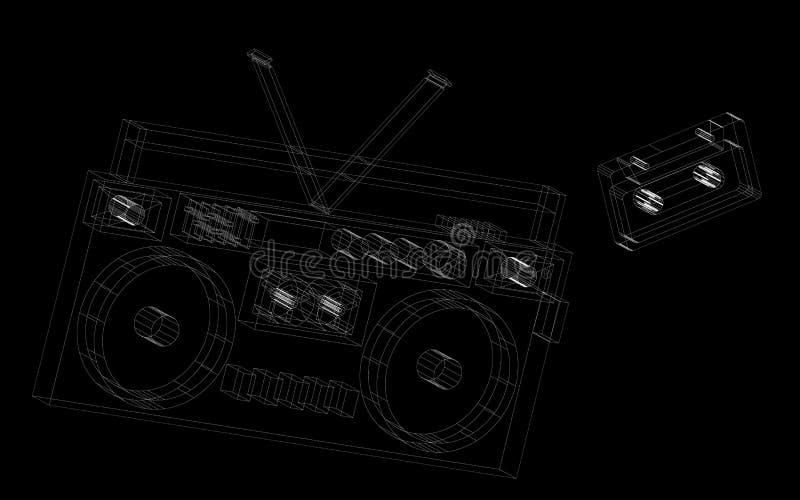 Резюмируйте покрашенные линии черно-белый ретро магнитофон радио музыкальный также вектор иллюстрации притяжки corel иллюстрация вектора
