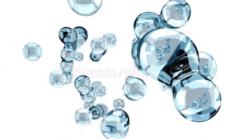 резюмируйте принципиальную схему aqua Голубая жидкость на белой предпосылке Жидкий st иллюстрация штока