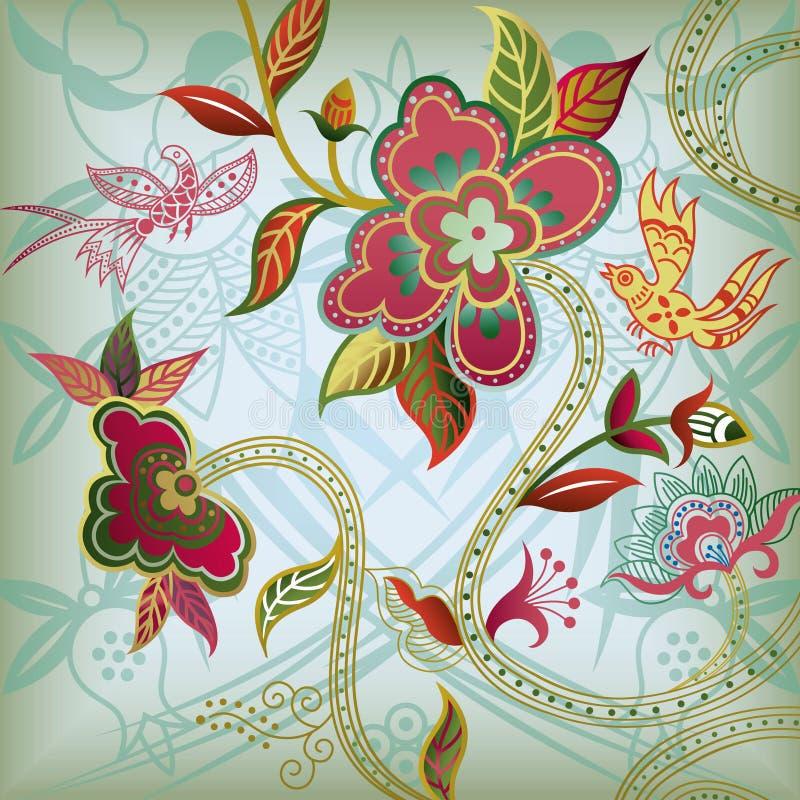 резюмируйте птицу флористическую иллюстрация вектора